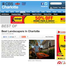 CBS Charlotte named Outdoor Life Inc. Best Landscaping, Charlotte, NC