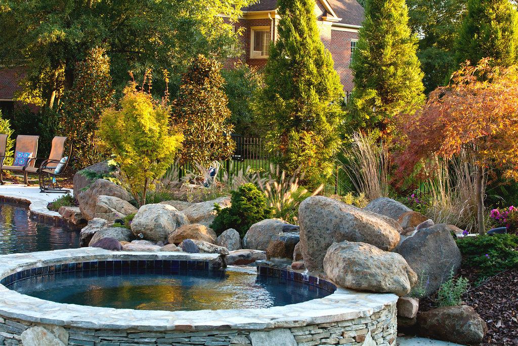Beautiful water feature with landscape