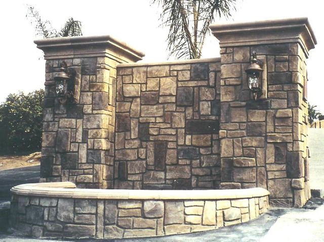 Fieldstone stamped texture with free hand carved fieldstones that are hand colored.
