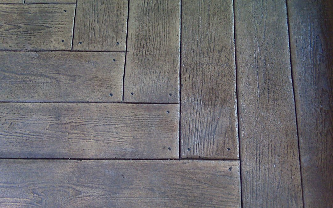 Wood plank stamped concrete patio