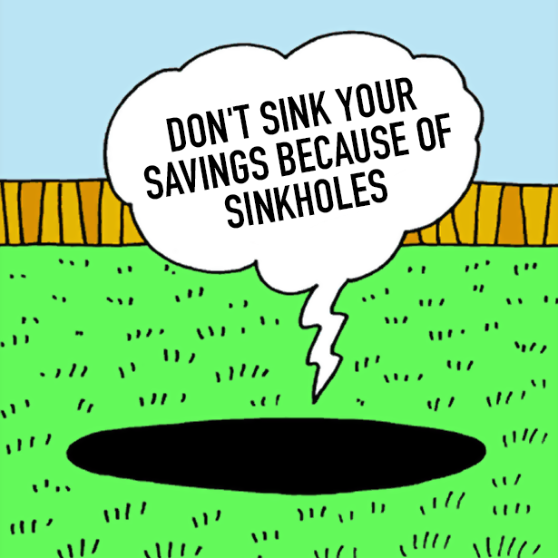 "Don't ""sink your savings"" because of Sinkholes!"
