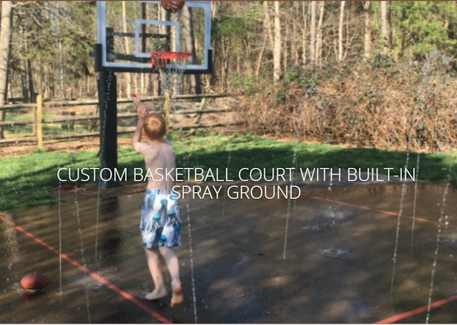 Built in Spray Ground Basketball Court!
