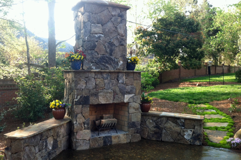 Outdoor Fireplaces and Kitchens make backyards fun, functional and beautiful.